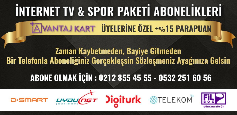 İNDİRİMLİ İNTERNET TV ve SPOR PAKETİ ABONELİĞİ